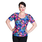 Top Janette 1/4 sleeves, AuroraMulti